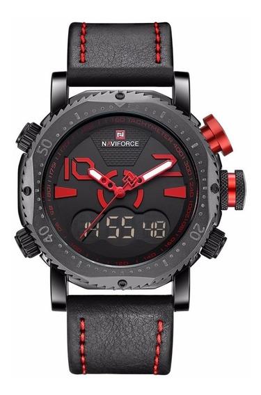 Relógio Naviforce 9094 Display Duplo Militar Luxo Original