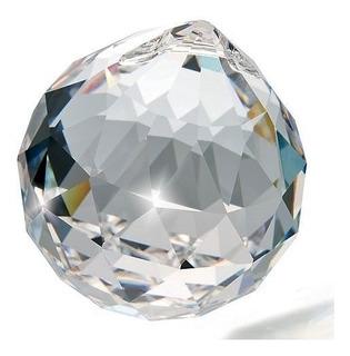 10 Bola Esfera De Cristal K9 Feng Shui 4,0 Cm Com Argola Aço