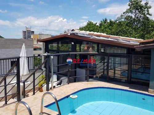 Imagem 1 de 30 de Cobertura Duplex 3 Dormitórios (2 Suítes) Mobiliado Solarium Com Piscina E Churrasqueira 2 Garagens Fixas 300 Metros Praias Tombo, Guarujá/sp - Co0065