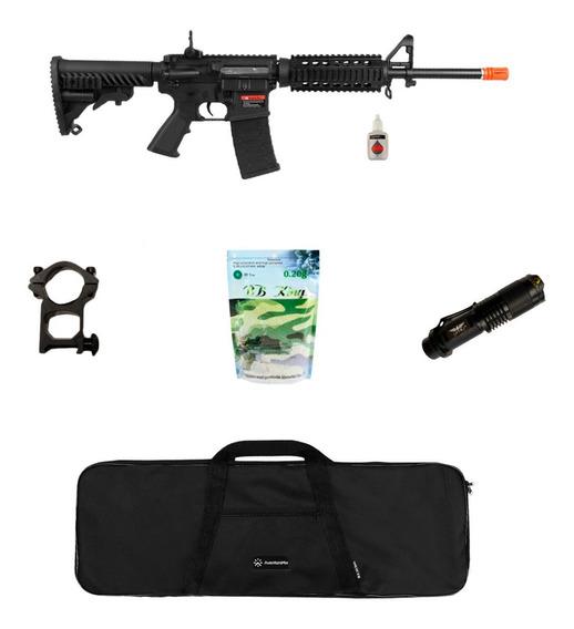 Rifle Airsoft M4a1 A.p.s Blowback 6mm + Acessório + Lanterna