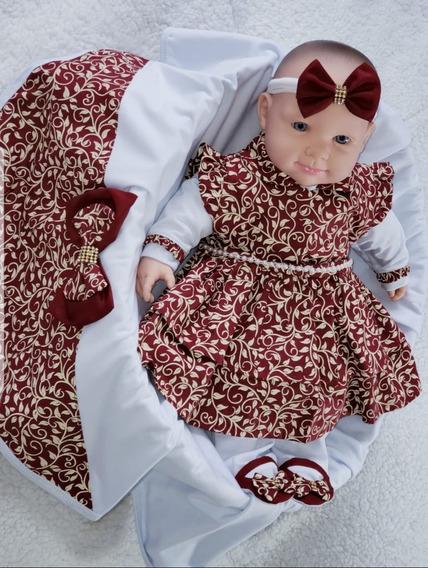 Saida Maternidade Menina Vermelho Marsala