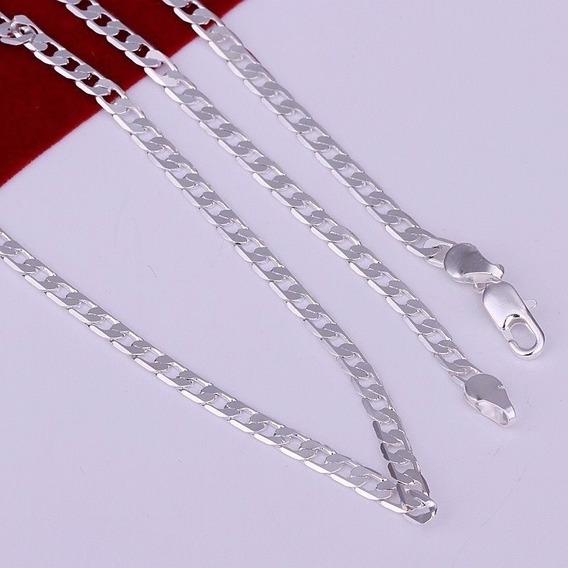 Corrente Cordão Banhado Prata 925 Masculino 4mm, Ref:303