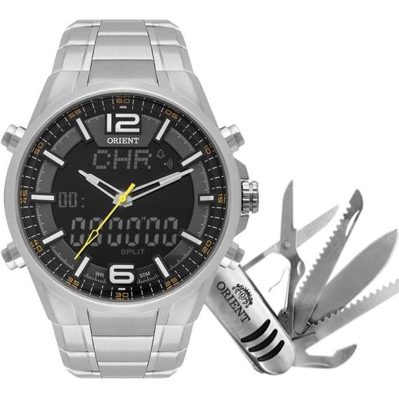 Relógio Orient Masculino Anadigi Mbssa048 P2sx Com Canivete
