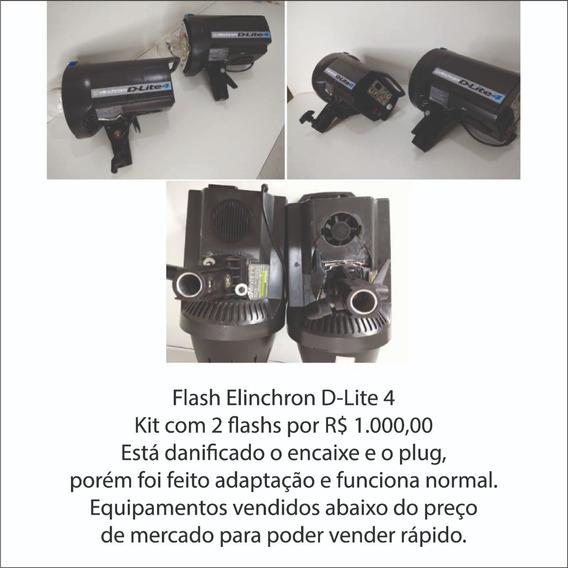 Flash Elinchrom D-lite 4 Com Muitos Danos Mas Funciona Norma