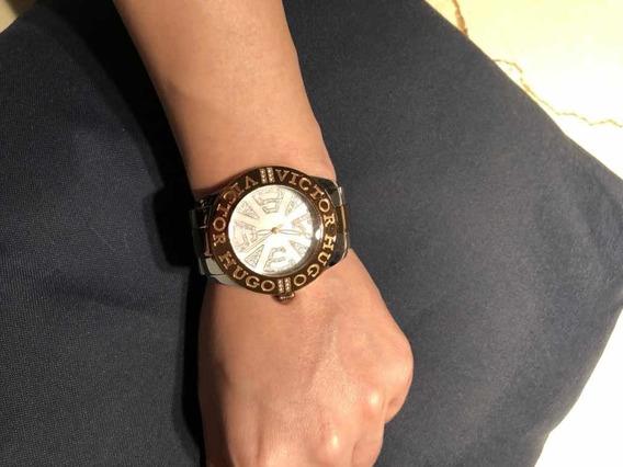 Relógio Victor Hugo Rosé Com Prata