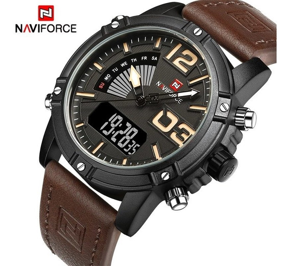Relógio Naviforce Nf9095bby Couro Marrom Analógico + Digital