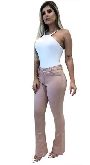 Calça Flare Rosê Envelhecido Jeans Cintura Alta 34 A 46