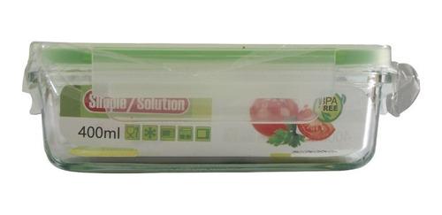Envase Rectangular De Vidrio Para Alimentos 400 Ml