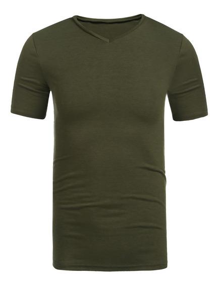 Hombres La Camiseta Manga Corta Básica Sólida De Las Tapas