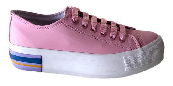Tênis Lindo Capricho Cano Curto Plataforma Colore Rosa