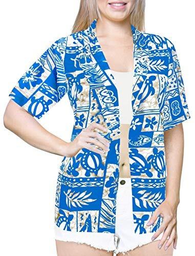 La Leela Likre Camp Aloha Beach Top Camisa Azul Claro 96 X