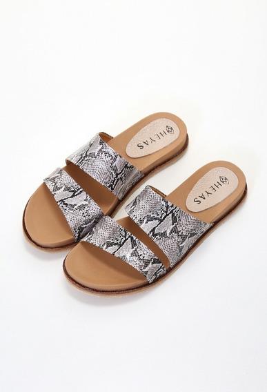 Sandalias Bajas Chinela Bajas Cuero Mujer Hemilse Moda Heyas
