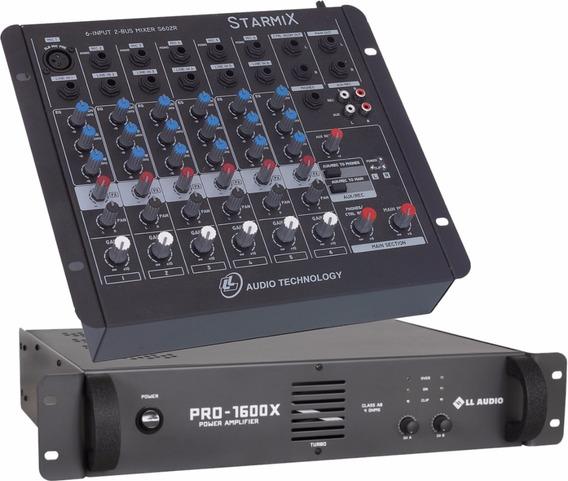 Kit Mesa Som 6 Canais Ll S602r + Potencia Pro1600x 400w
