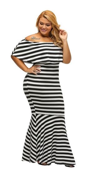Vestido Plus Size Listrado Longo Lançamento. Ref: 446