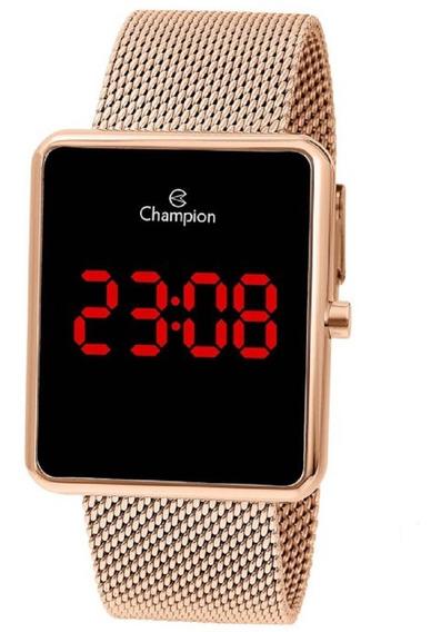 Relógio Champion Feminino Digital Led Ch40080p Rose Quadrado