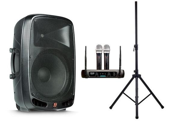 Caixa Ativa Staner Ps1501 Bluetooth + Tripe + Mic S/fio Dupl