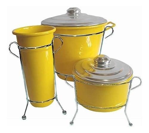 Imagem 1 de 1 de Kit Pia Lixeira Sabão Detergente Alumínio Amarelo C/suporte
