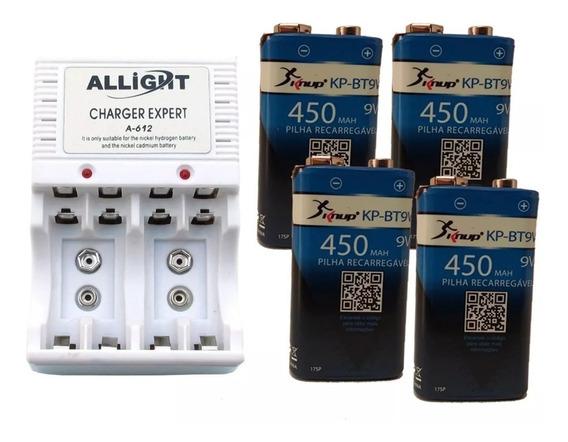 Kit Carregador + 4 Baterias 9v Knup Recarregável Original
