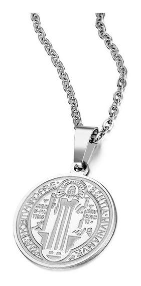 Colar Feminino E Pingente Medalha Imagem São Bento Aço Inox