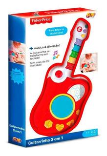 Guitarra Infantil 3 Em 1 - Vermelha Fisher Price F00010 Fun