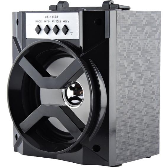 Caixa De Som Portátil Bluetooth Radio Fm 8w Ms-134bt Preto