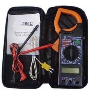 Alicate Amperimetro Digital Sensor De Temperatura E Estojo