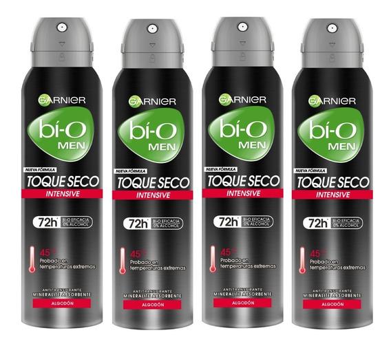 Pack 4 Desodorante Bi-o Garnier Toque Seco Spray Hombre