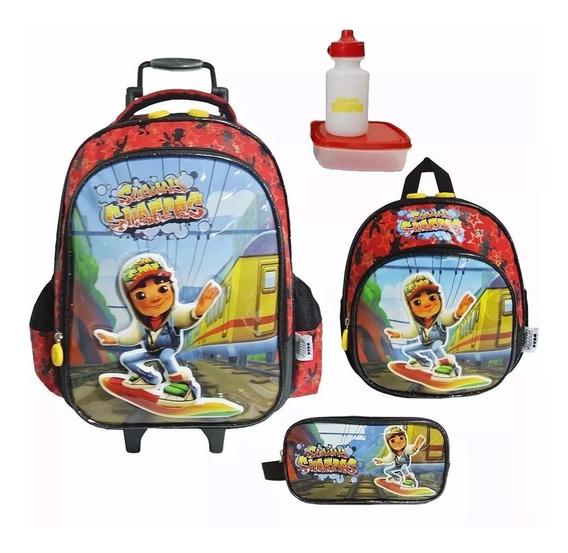 Kit Mochila Infantil Subway Surfers Tam G Original + Brinde