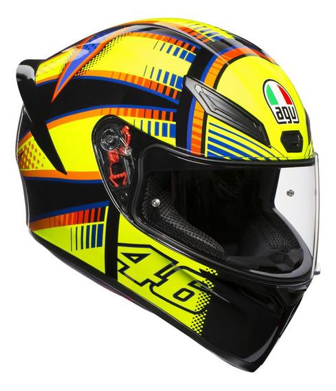 Casco para moto integral AGV K-1 Soleluna 2015 black, yellow talle MS
