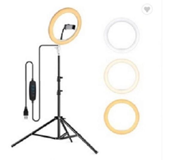 Maquiagem Kit Ring Light 26cm Vídeo Youtube + Tripé 125cm - (total C/ Tripé - 152cm) - 3 Cores
