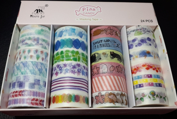Cx C/24 Washi Tape Fita Adesiva Decorada Planner Scrapbook