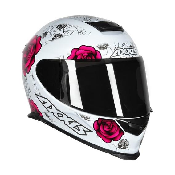 Capacete Axxis Flowers Branco/rosa 56