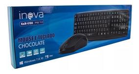 Teclado E Mouse Com Fio Inova Combo - Preto - Kem-6108