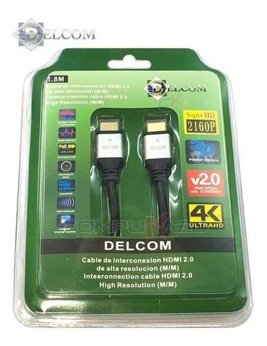 Cable Hdmi 2.0 De 1.80 Mts Delcom Ultra Hd 4k 3d Audio Video