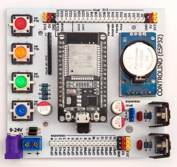 Shield Esp32 Mcp23017 Ds3231 Expansor De Portas Botões Fonte