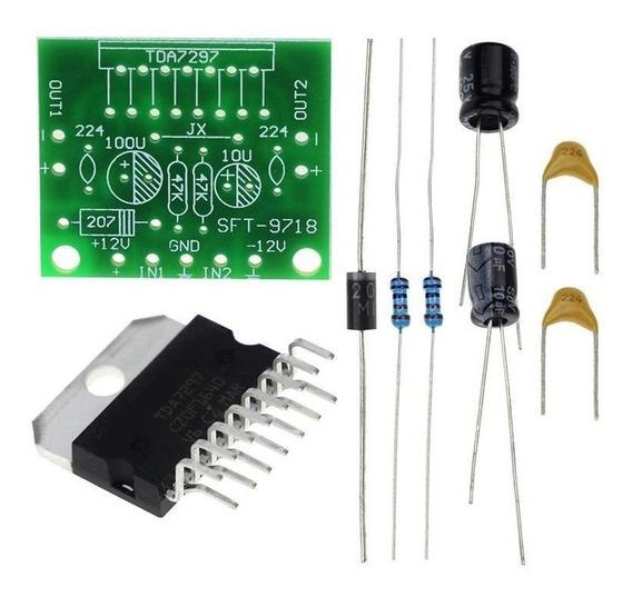 Kit Amplificador Tda7297 2.0 15w+15w Dc 12v Dual Bridge