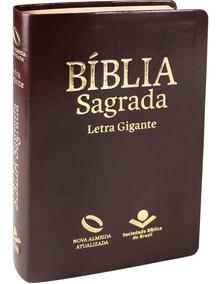 Bíblia Letra Gigante Luxo Marrom Nova Almeida Atualizada