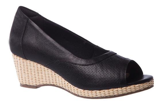 Sandália Feminina Anabela 614 Em Couro Preto Doctor Shoes