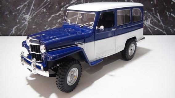 Ford Rural Willys Ano 1955 Cor Azul Esc 1:18 Marca Lucky