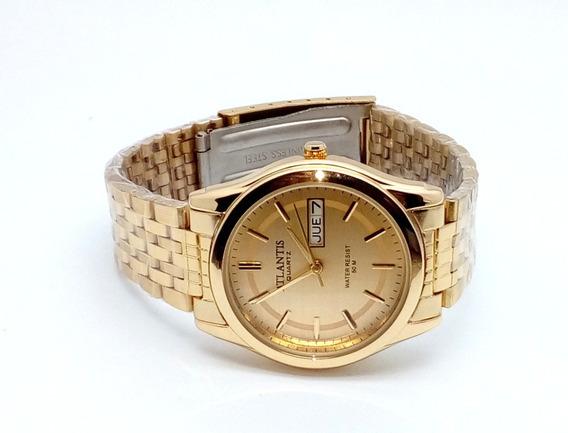 Relógio Feminino Dourado Luxo Com Calendário
