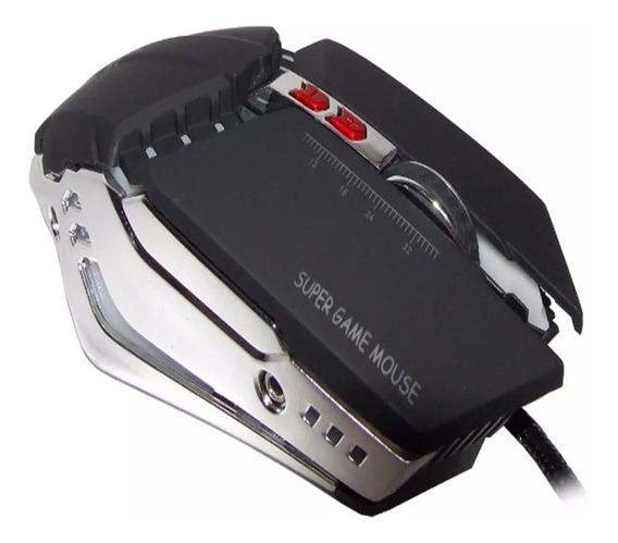 Mouse Gamer Óptico Usb Iluminação Led Contrapeso 3200dpi 02u
