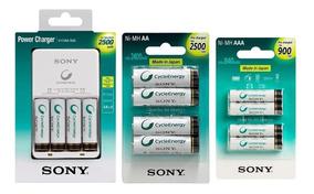 Carregador Sony Com 8 Pilhas Aa 2500 Mah + 4 Pilhas Aaa 900