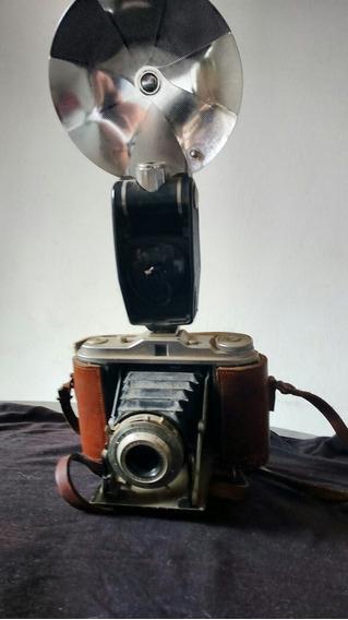 Camera Fotografica Antiga Com Estojo E Manual Original.