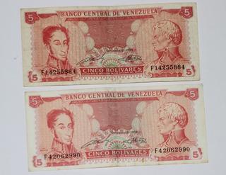 2 Billetes De Bs. 5 Del 21 Septiembre 1989 Y 2 De 10