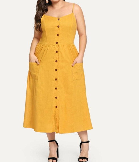 Vestido Com Botões Frontais Tamanhos Grandes Blusa