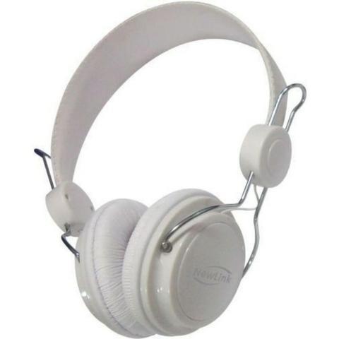 Fone Ouvido Headset Shiny Branco Com Microfone Newlink Hs104