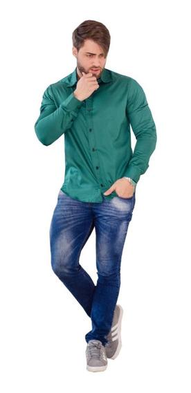 Camisa Masculina Formal Luxo Algodão Acetinado Lycra Slimfit