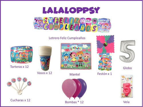 Imagen 1 de 1 de Kit Decoración Celebra En Casa Fiesta Cumpleaños Lalaloopsy