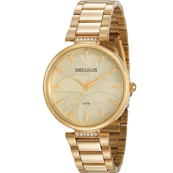 Relógio Seculus Feminino Ref: 77010lpsvda1 Dourado