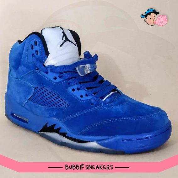 Tênis Air Jordan 5 Retro Blue Suede